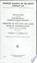 Oversight Hearings on the Service Contract Act Book