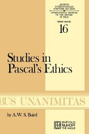 Studies In Pascal S Ethics