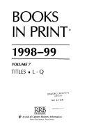 Books in Print 1998 99 Book
