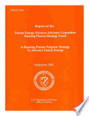 A Burning Plasma Program Strategy to Advance Fusion Energy Book
