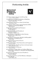 Behavioral research in highway safety