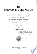 Die Philosophie des als ob
