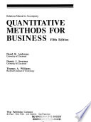 Solutions Manual to Accompany Quantitative Methods for Business, Fifth Edition