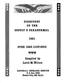 Directory of the Occult   Paranormal