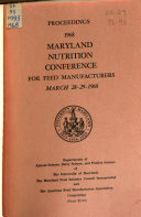 Proceedings - Maryland Nutrition Conference for Feed Manufacturers