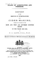 Report On The Results Of Investigations Into Cidermaking