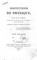 Institutions de physique, par B.G. Sage ... Tome premier [-troisième]
