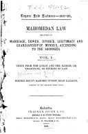 Pdf Mahomedan Law Relating to Marriage, Dower, Divorce, Legitimacy and Guardianship of Minors