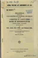 Animal Welfare Act Amendments of 1974