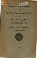 Annual Report of the Tax Commissioner of the State of Texas