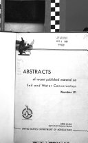 Abstracts of Recent Published Material on Soil and Water Conservation