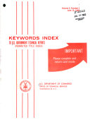Keywords Index to U S  Government Technical Reports  permuted Title Index