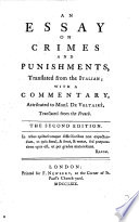 An Essay On Crimes And Punishments Translated From The Italian With A Commentary Attributed To Mons De Voltaire Translated From The French