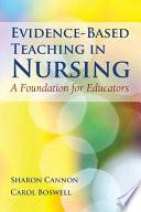 Evidence Based Teaching in Nursing Book