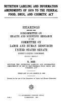 Nutrition labeling and information amendments of 1979 to the Federal food  drug  and cosmetic act