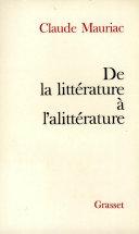 Pdf De la littérature à l'alittérature Telecharger