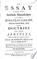 An Essay Upon Two Arabick Manuscripts of the Bodlejan Library