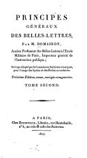 Principes généraux des belles-lettres ...