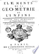 Éléments de la géométrie de l'infini : suite des mémoires de l'Academie Royale des Sciences, 1727