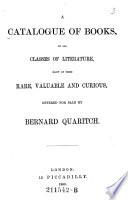 A Catalog of Books Book