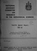 Annual Report   National Advisory Committee On Research In The Geological Sciences