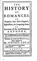 The history of romances. Made Engl. by S. Lewis