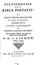 Dictionnaire de la Bible portatif