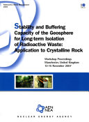 Stability And Buffering Capacity Of The Geosphere For Long Term Isolation Of Radioactive Waste Application To Crystalline Rock Book PDF