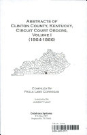Abstracts of Clinton County, Kentucky, Circuit Court Orders, ...