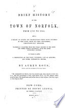 A Brief History of the Town of Norfolk