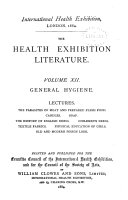 The Health Exhibition Literature  General hygiene