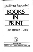 Small Press Record of Books in Print Book