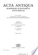 Acta Antiqua Academiae Scientiarum Hungaricae