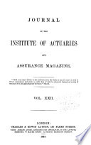 Journal Of The Institute Of Actuaries And Assurance Magazine Book PDF