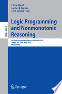 Logic Programming and Nonmonotonic Reasoning Book