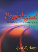 Cover of Psychological Testing and Assessment