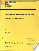 Modeling and Managing Water Resource Systems for Water Quality