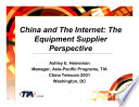 China And The Internet The Equipment Supplier Perspective Book PDF