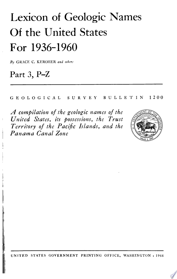 Lexicon of geologic names of the United States for 1936 1960