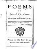 Poems on Several Occasions  Originals and translations   By William Dingley   Book