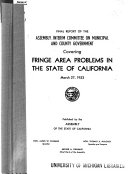 Final Report Covering Fringe Area Problems In The State Of California