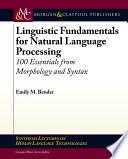 Linguistic Fundamentals for Natural Language Processing