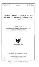 Toward A National Growth Policy Federal And State Developments In 1973 Book PDF