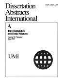 Dissertation Abstracts International A The Humanities And Social Sciences