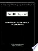 Maintenance Considerations in Highway Design Book