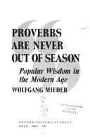 Proverbs are Never Out of Season