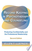 Record Keeping In Psychotherapy And Counseling Book PDF