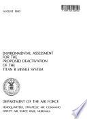 Offutt Air Force Base (AFB), Titan II Missile System, Proposed Deactivation, EA.
