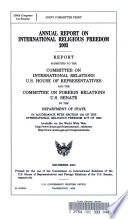 Annual Report On International Religious Freedom 2003