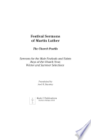 Festival Sermons of Martin Luther Book